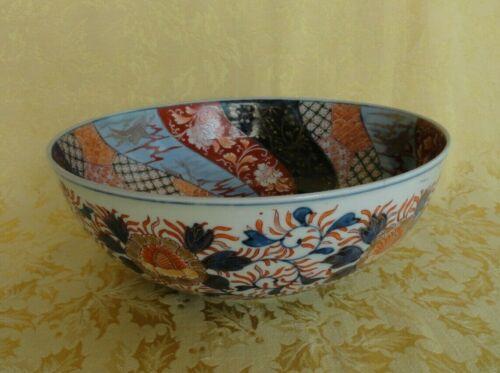 "Antique Japanese Hand Painted Imari Large Bowl 10 3/4"" D"