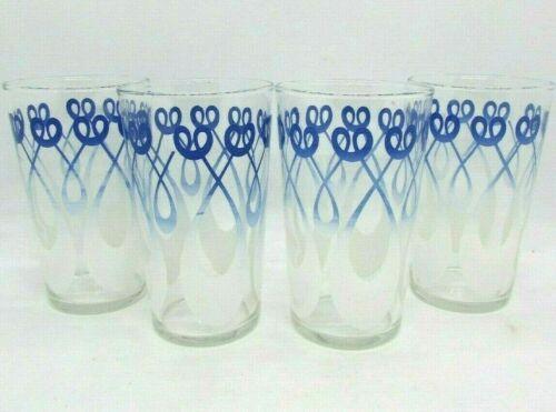 Vintage (4) FEDERAL GLASS Retro Mid Century Blue White Swirl, GLASS TUMBLERS
