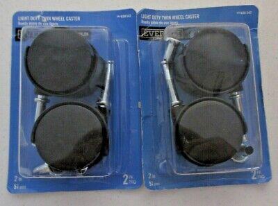 2 Inch Casters Nylon Twin Wheel Stem Mount Swivel Caster Black 2 Pack