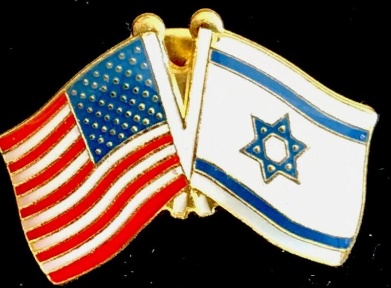 Vintage US American Flag And Israeli Israel Flag Lapel Pin
