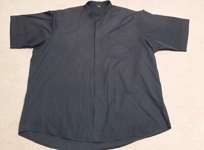 LITURGICAL CLERICAL NECK BAND COLLAR SHORT SLEEVE SHIRT BLACK SIZE 17 INDIOS CO