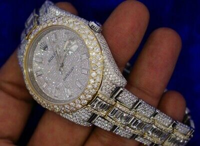 Rolex Datejust 2 41mm Watch Baguettes and Round Iced Out Diamond Flower Setting