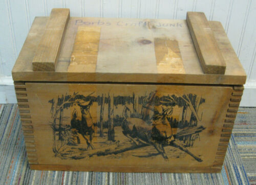 The Classic By Evans 1995 Series IV Deer Scene Wooden Ammunition Box