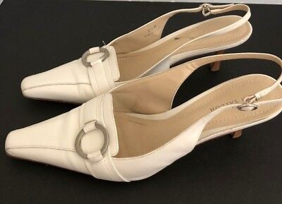 Ann Taylor Women's Size 6.5M Leather Slingbacks Cream Pointed Toe 2.5 Inch Heels
