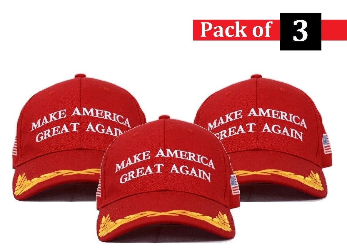 [3-Pack] Red Trump Maga Military Make America Great Again Presidential Red Hats Clothing, Shoes & Accessories