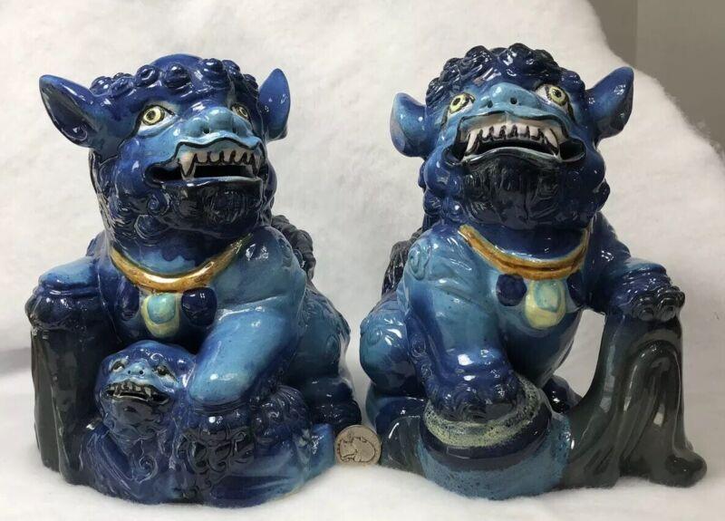 RARE PAIR OF JAPANESE OKINAWA RYUKYU SHISA LION DOGS GARGOYLES CERAMIC TURQ BLUE