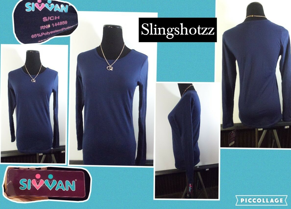 "NWT *Sivvan* Wmn's ""S"" Navy Crew Poly Cotton Base Layer Unde"
