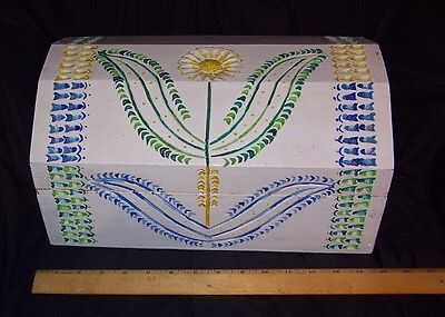Folk Art Box Chest Primitive Trinket Box  - Art Boxes