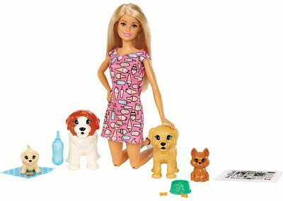Barbie Doggy Daycare Blonde Doll 2 Dogs And Puppies Poop Pee Paper Bottle Feeds