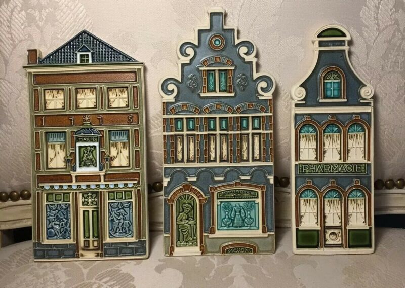 VANGEEBERGEN Art Pottery Tiles Vintage Storefronts Set Of Three Belgium EVC
