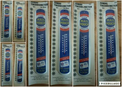"""Vintage 17"""" Jumbo Mail Pouch Chew Tobacco Thermometer Sign in Packaging"""