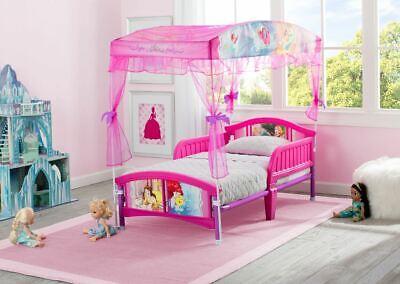 Toddler Bed Frame For Girls Princess Plastic Canopy Kids Side Rails Headboard ()