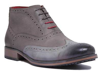 Justin Reece Bruno Mens Smart Casual Brogue Ankle Boots In Grey Size UK 6 -12