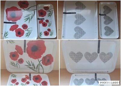 Cheap Serving Trays (Melamine Tray Poppy/Heart Pattern Design 33cmx16cmx1.5cm/44cmx32.5cm)