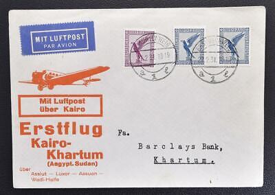 GERMANY via Egypt to SUDAN 1931, $$$, RARE First Flight FFC Cover to Khartoum
