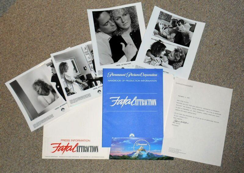 1987 FATAL ATTRACTION movie press kit, Michael Douglass, Glenn Close