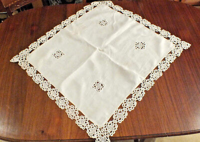 Vintage Taupe Stone linen Tablecloth Table topper  lace border and lace insets (Border Table Topper)