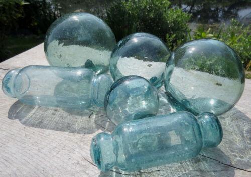 "Japanese Glass Fishing Floats 4""/3.5""/3""/2"" Mixed LOT 2-Rolling Pins SAMPLER Vtg"