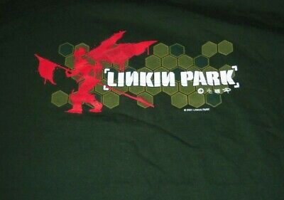 Vintage 2001 Linkin Park Hybrid Theory Concert XL Green Shirt