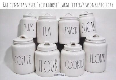 "Rae Dunn Canister COOKIES FLOUR TEA SUGAR YUM SNACK ""YOU CHOOSE"" HTF NEW 2018"