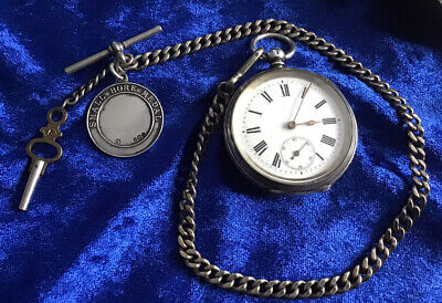 ANTIQUE SOLID SILVER POCKET WATCH & FOB CHAIN,FOB,WATCH KEY ETC WORKING