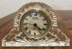 Vintage Crystal Legends By Godinger Glass Lead Crystal Large Mantle Clock