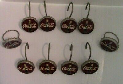 Coca Cola Coke Bottle Caps Shower Curtain Hooks-1.5 Inch wide - Good Condition!