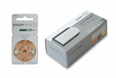 PowerOne Rechargeable Hearing Aid Batteries (Size 312) + Pocket Charger ()