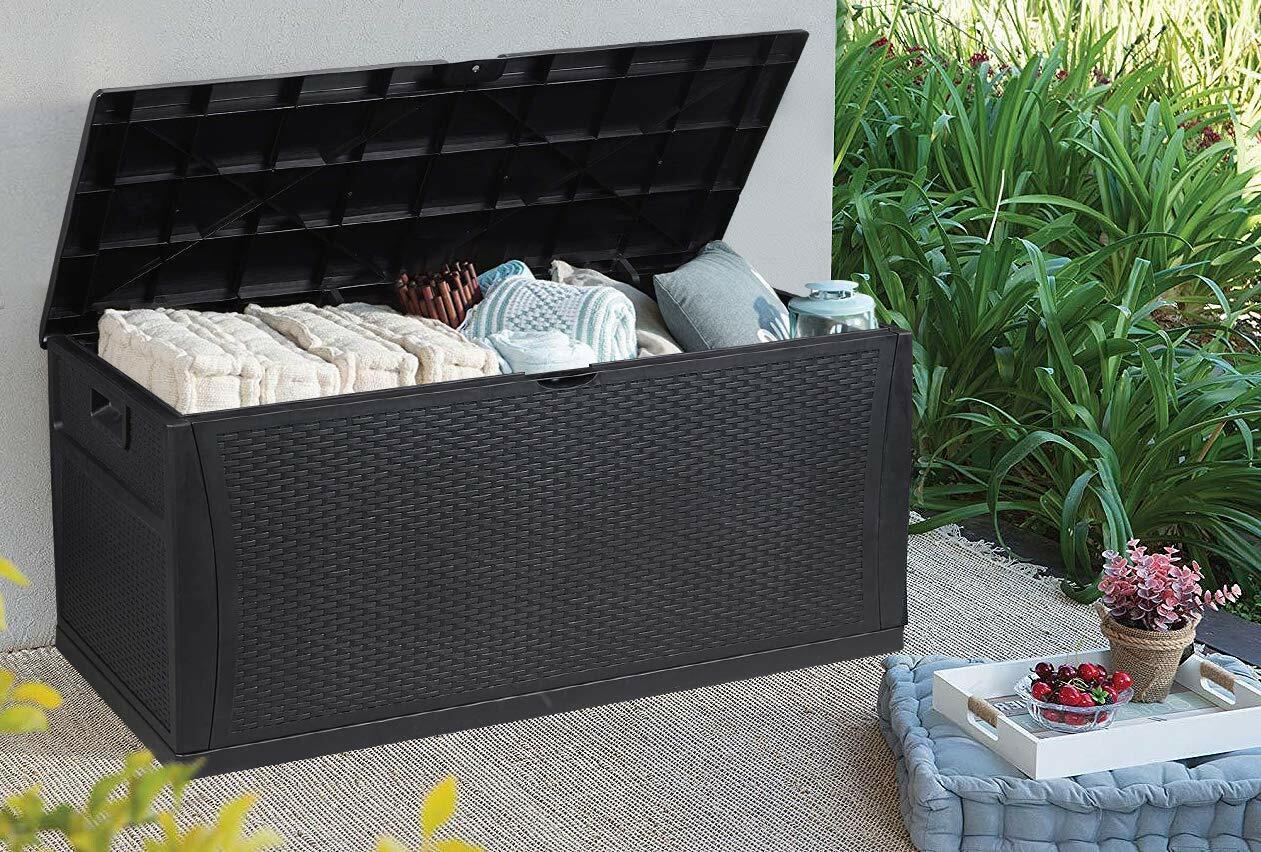 Outdoor Storage Deck Box Bench Patio PP Wicker Container Bin