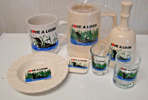 LOVE A LOON COLLECTION by Murray BEER MUG COFFEE CUP SHOT GLASSES BELL +++