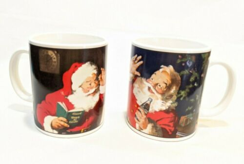 Coca Cola Coke Cups Mugs Santa Claus Christmas List 2002 by Sakura Set of 2 EUC