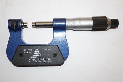 New Swiss Made Etalon 0-25mm Micrometer. .01mm Grad.cw 7 Interchangeable Anvils