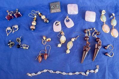 Lot 14 pair Vintage Costume Earrings 1 Bracelet ALL with Beads Stones LG Variety