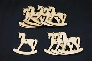W14-10x-Plain-Wood-Wooden-HORSE-shape-craft-shape-embelishment