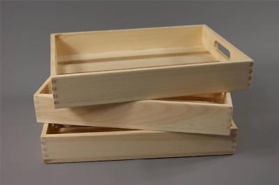 Wooden Storage Box Crate Caddy Kitchen Toy Bedroom Organiser Vintage TSK