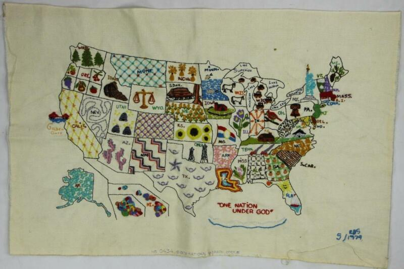 70s Vintage National Paragon Corp USA States Map Crewel Embroidery Folk Art