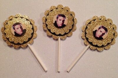 Elvis Presley Cupcake Toppers Birthday Anniversary Party Supplies Handmade New - Elvis Presley Party Supplies