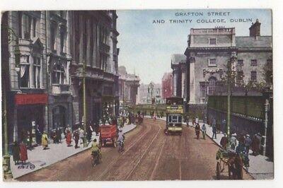 Grafton Street & Trinity College Dublin Ireland Vintage Postcard 812b