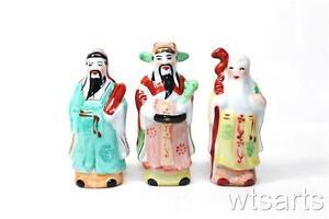 Small Ceramic San Xing, Three Planets, Fu Lu Shou, Feng Shui Charm Home Business