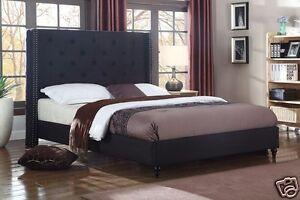 BLACK Fabric WingBack KING Size Platform Bed Frame & Slats Modern Home Bedroom