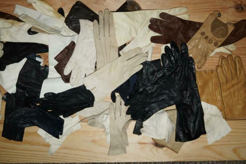 Lot: Vintage Soft Leather Gloves GREAT for Mending Vintage French Dolls Leather