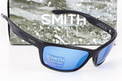 Neu Smith Redmond Polarisiert Sonnenbrille Schwarz/Blau Spiegel Techlite Glas
