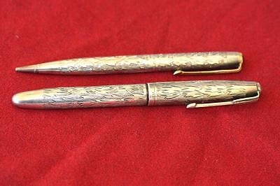 Japanese Platinum Gorgeous Pure Silver Hand Engraved Fountain Pen Pencil Set