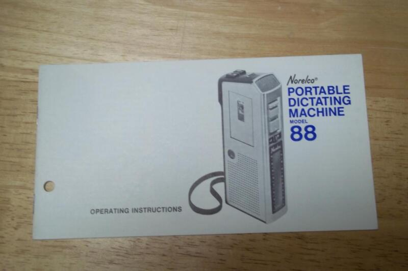 Owner / User  Manual for the Norelco 88 Dictating Machine