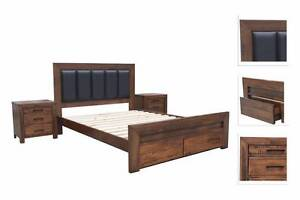 Brand New Timber American Yellow Poplar with PU Leather Bed Frame Melbourne CBD Melbourne City Preview