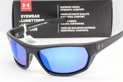 Neu Under Armour Powerbrake Sonnenbrille Ua Satin Schwarz / Blaue Spiegel Glas