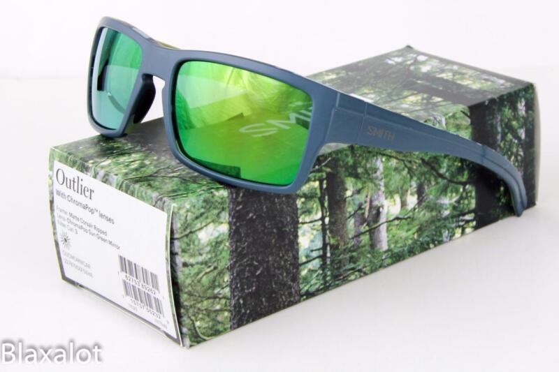 96012f6644d NEW SMITH OUTLIER CHROMAPOP SUNGLASSES Matte Gray Corsair   Green Mirror  lens