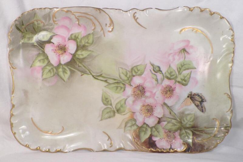 Antique Haviland Tray Platter Pink Roses Butterfly Porcelain Gold Edge Beauty