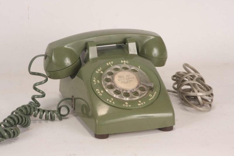 Vintage Green Rotary Desk Telephone