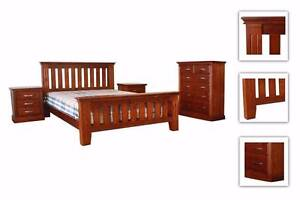 Queen & King New Zealand Pine Bed Frame, Bedside Table, Tallboy Melbourne CBD Melbourne City Preview